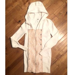 Free People Lace Detail Zipper Hooded Cardigan S